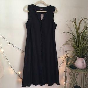 NWT J. Jill Ruffle Center Black Linen Midi Dress
